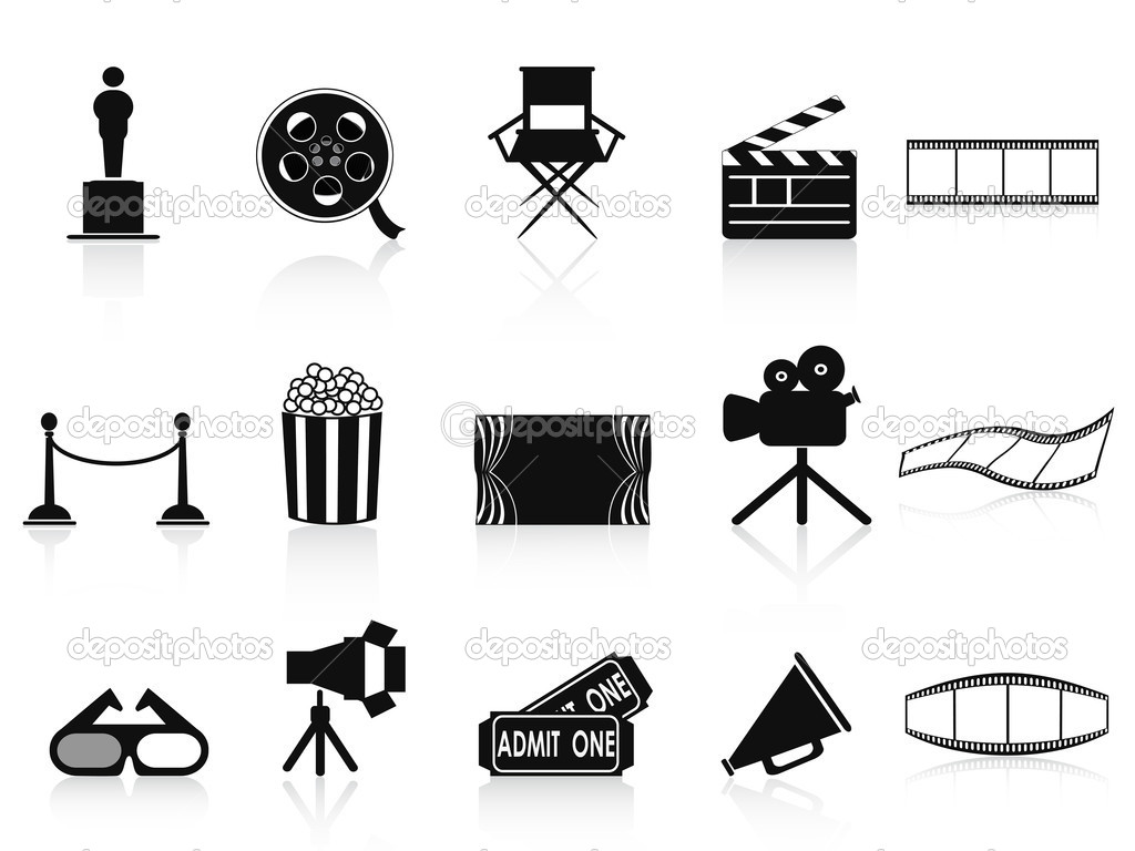 Isolated black movies icons set from white background  Stock Vector #10567408