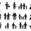 Stock Vector: Black happy family icons set