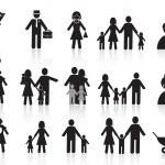 Black happy family icons set — Stock Vector
