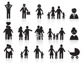 Black happy family icons set — Stock Vector