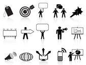 Black marketing icons set — Stock Vector