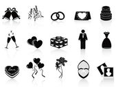 Black wedding icons set — ストックベクタ