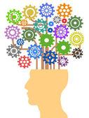 Head with gear tree — Stock Vector