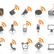 Black communication icon with orange rss symbol — Imagen vectorial