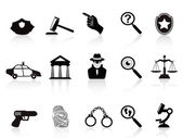 Law and crime icons set — Stock Vector