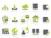 Green network server hosting icons — Stock Vector