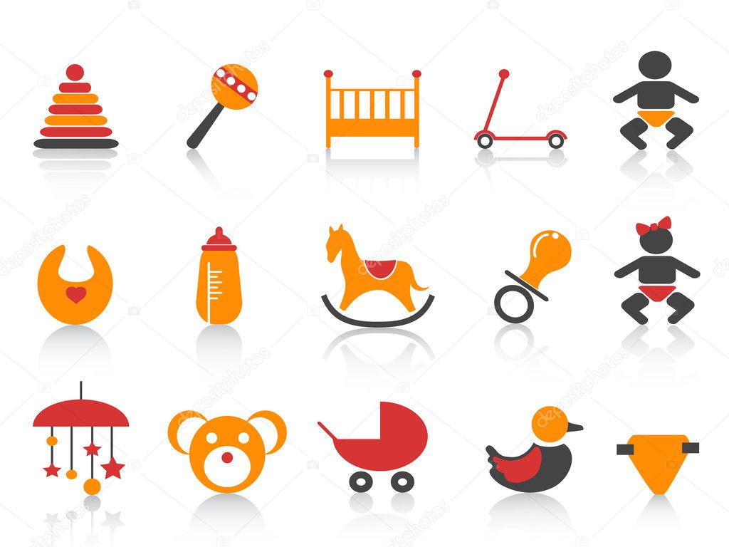 Simple baby icons set with orange ,red and black color — Stock Vector #8312452
