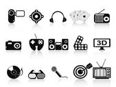 Black home entertainment icons set — Stock Vector