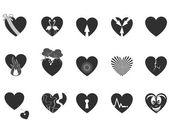 Icono del corazón amante negro — Vector de stock