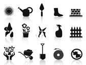 Black garden icons set — Stock Vector