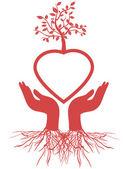 Hand holds heart tree — Stock Vector