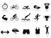 Triathlon sport icon set — Stock Vector