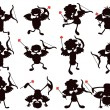 Cute cartoon style of cupid silhouettes — Stock Vector #8750984