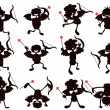 Cute cartoon style of cupid silhouettes - Stock Vector