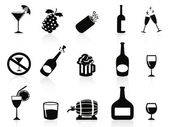 Black drinks and beverages icons — Stock Vector