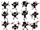 Cute cartoon style of cupid silhouettes — Stock Vector