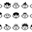 Cartoon kids face with hair style icons — Stock Vector