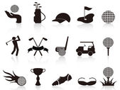 Black golf icons set — 图库矢量图片