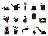 Black household icons — Stock Vector