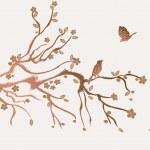 Plum flowers blossom — Stock Vector