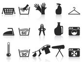Black laundry icons set — Stock Vector