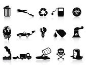 Black pollution icons set — Stock Vector
