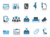 Icônes de bureau et d'entreprise bleu série — Vecteur