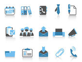 Office and business icons blue series — Stok Vektör