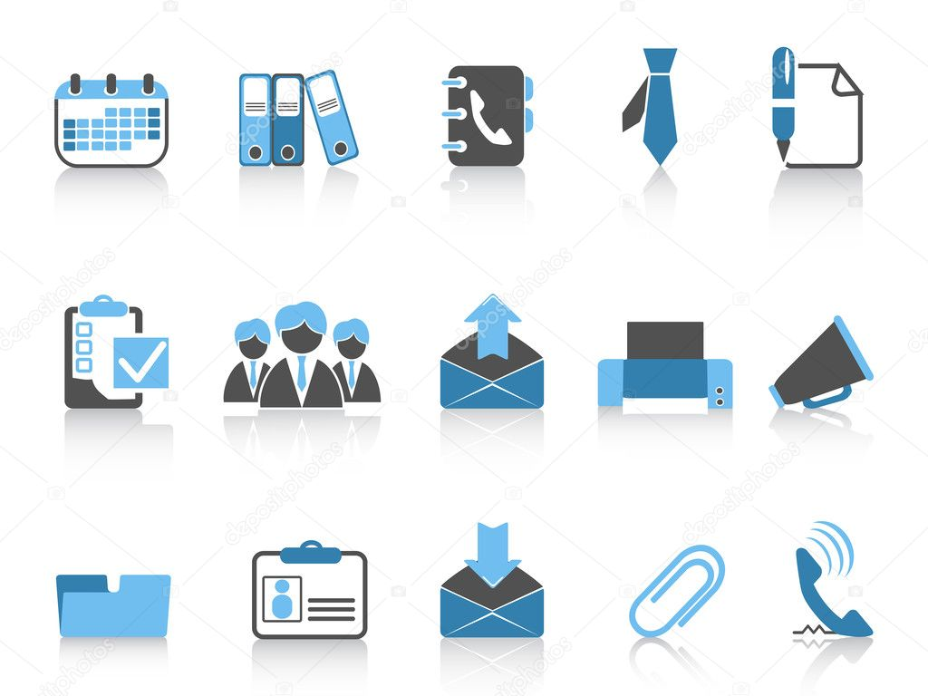 Isolated office and business icons in blue series — Stock Vector #9454036