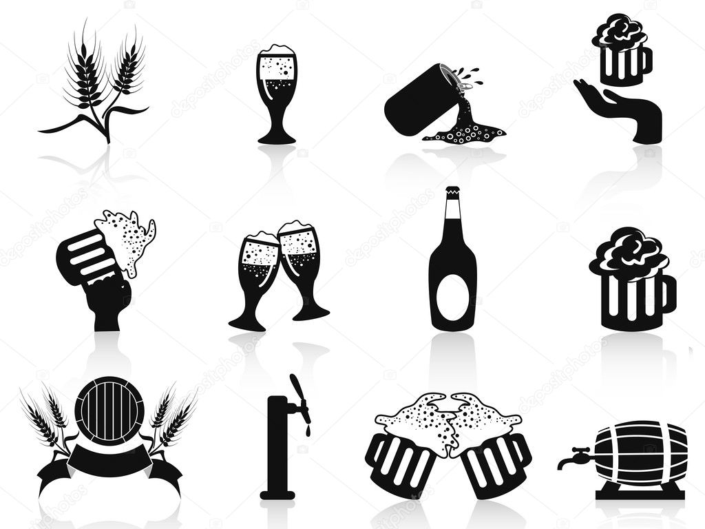 Isolated black beer icons set on white background — Stock Vector #9706694