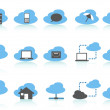 Simple cloud computing icons set,blue series — Stock Vector