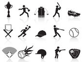 Black baseball icons set — Stock Vector