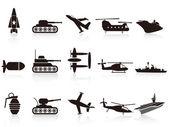Wapenset pictogrammen zwarte oorlog — Stockvector
