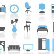 Simple interior furniture icons set,blue series — Stock Vector