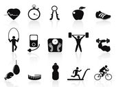 Black fitness icons set — Stock Vector