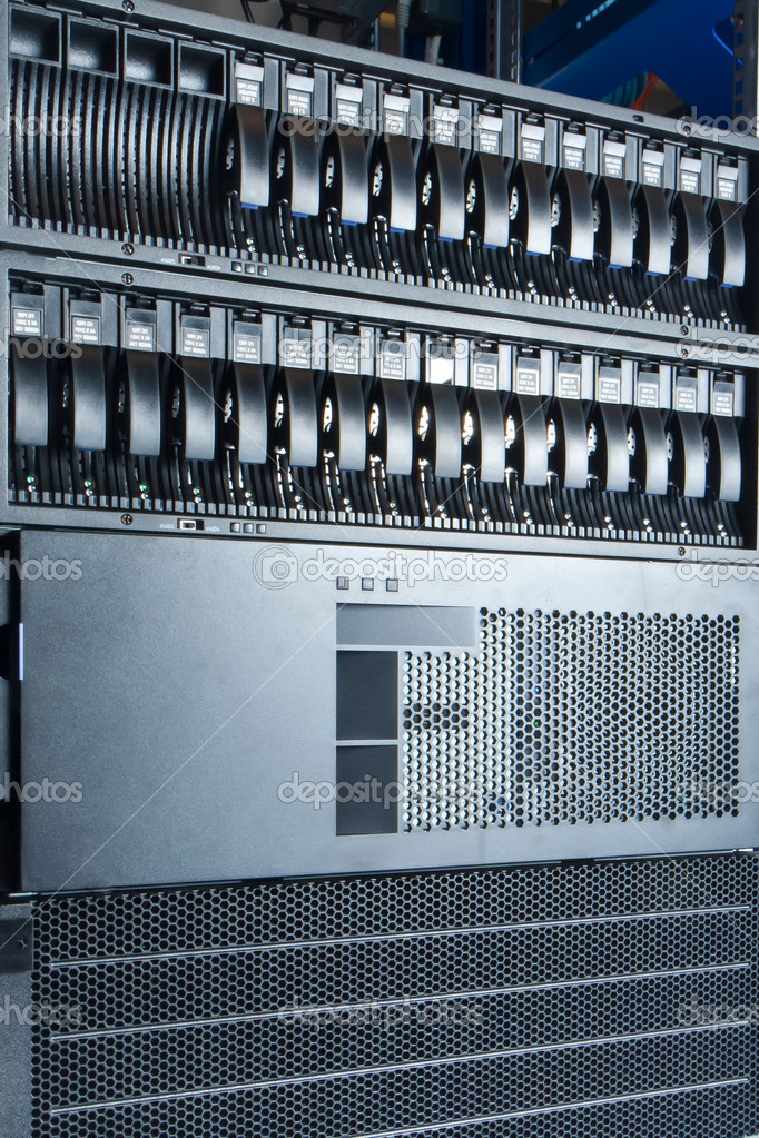 Detail of data center with hard drives — Stock Photo #9343441