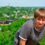 Portrait of a boy on a city background — Stock Photo #10535503