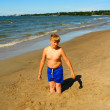 A boy playing on the beach of Baltic Sea — Stock Photo