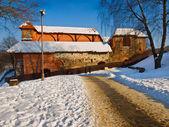 Ruins of Gediminas castle palace in winter, Vilnius — Stock Photo