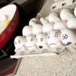 Terrified eggs - Stock Photo