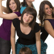 Five young smiling female friends — Stock Photo
