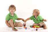 Boys with paints — Foto Stock