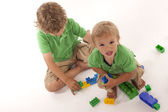Boys with block — Stock Photo