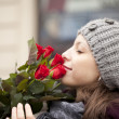 Woman with roses - Stockfoto