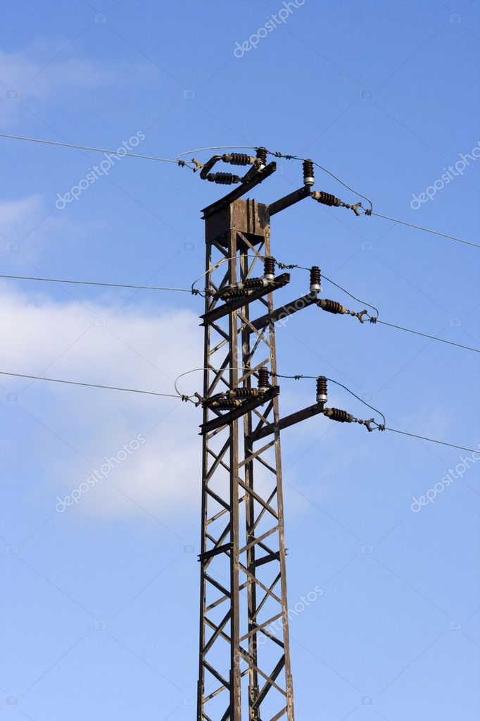 Power lines  a blue sky — Stock Photo #8609949