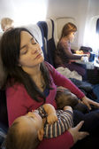 Family air travel — Stock Photo