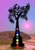 Chakras in meditation under a tree — Foto Stock