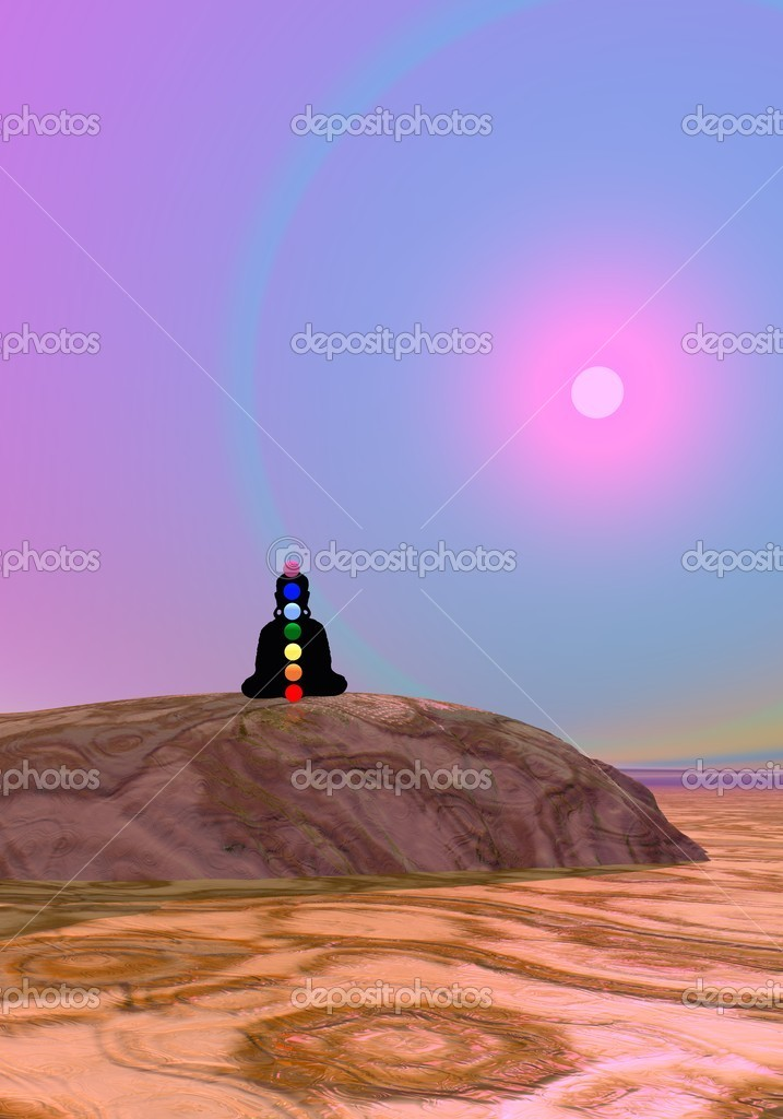 Shadow in meditation with chakras by violet sunset  Stock Photo #8971797