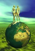 Adam and Eve upon the earth — Stock Photo