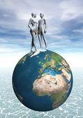 Adam och Eva på jorden — Stockfoto